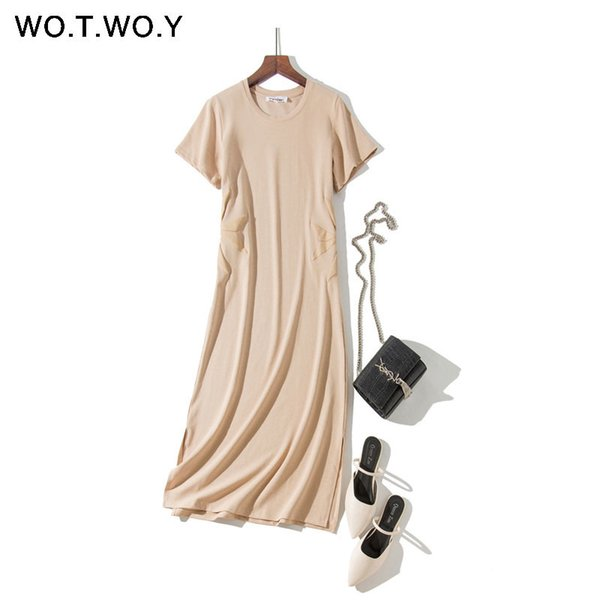 Wotwoy 2019 Summer Print Long T Shirt Dresses Women Plus Size Navy Apricot O-neck Short Sleeve Maxi Dresses Casual Female Dress Y19073001