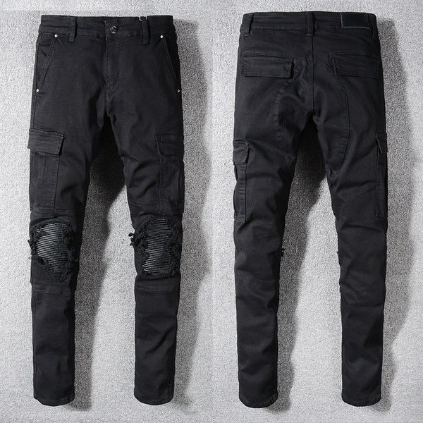 Noir Hommes Trous Jeans 2019 Slim Biker Jeans Hommes Trous Hip Hop Denim Pantalon Pantalon Taille 28-40