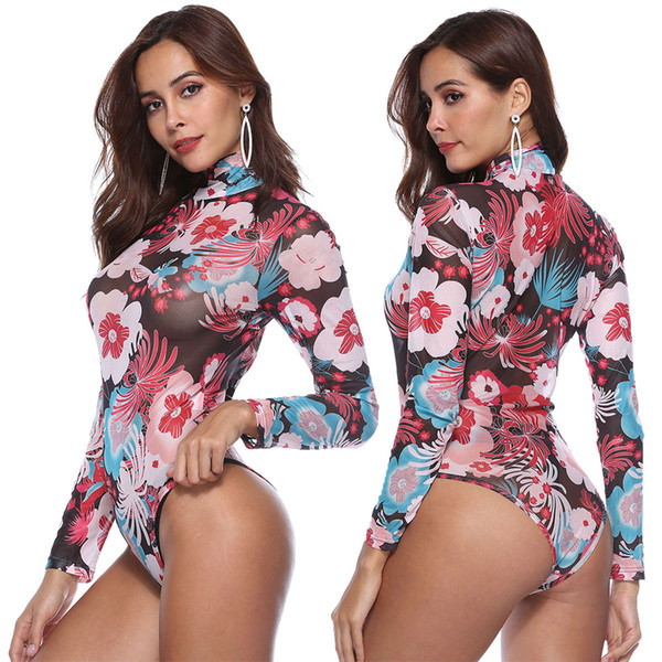 2018 Autumn Women Sexy Bodysuits Long Sleeve High Neck Mesh Prints Rompers Perspective Jumpsuits Playsuits