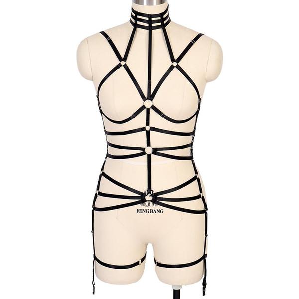 Bra elastico Set cinturino nero Harness nastro superiore punk gotica della biancheria Plus Size reggicalze corpo Cage Festival Notte Donna bretella