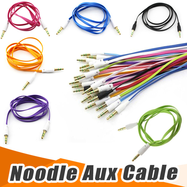 3.5mm to 3.5mm male to male colorful flat type car aux stero audio headphone jack extension cable 200pcs