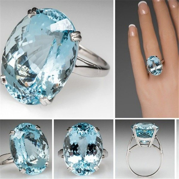 Blue Topaz Ring Diamond Engagement Wedding Ring Solitaire Rings Fashion Women Ring Jewelry Gift