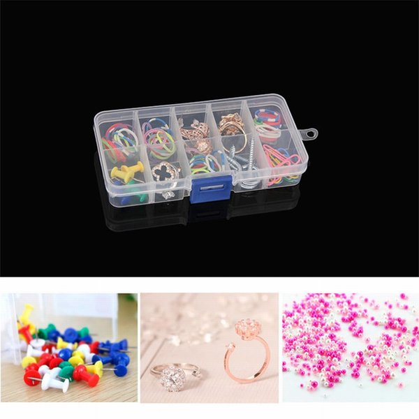 Urijk Durable Transparent Rectangle Case Organizer Boxes 10 Lattice Detachable Storage Box For Small Handmade Packing Jewelry