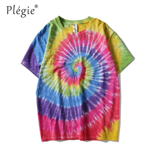 Plegie Tie Dyeing Hip Hop T-shirt Men Women 2018 Summer Round Neck Men's Irregular Pattern Tshirts Cotton Tee Shirts 8 Colors Y19042005