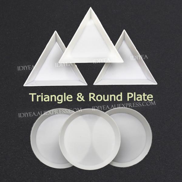 Trangle cup Bandeja de cristales de placa redonda para llevar accesorios piedras piedras pedrería strass brilla en la caja de bricolaje