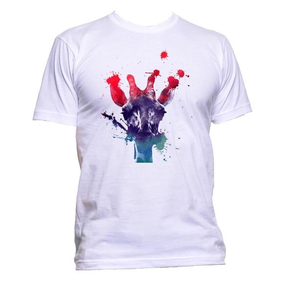 Maglietta colorata della pittura della giraffa Maglietta unisex di modo delle donne degli uomini delle donne unisex di modo Slogan Regalo libero di trasporto nero libero