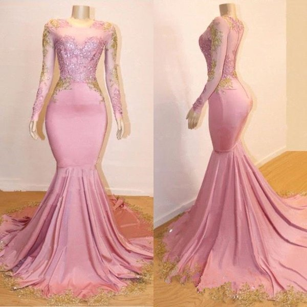 2019 New Sheer Long Sleeves Mermaid Long Prom Dresses Black Girls Gold Lace Applique Sweep Train Formal Party Evening Gowns BC0589