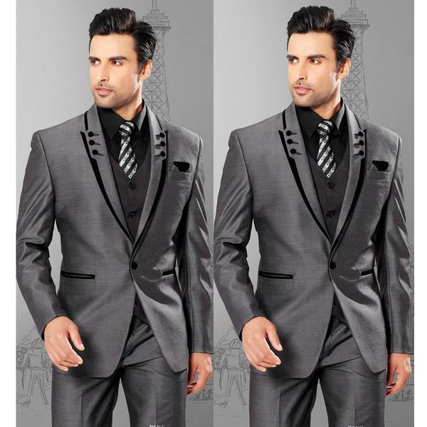 Groom Tuxedos Dark Grey Mens Wedding Tuxedos Peak Lapel One Button Man Jacket Blazer Best Popular Men 3 Piece Suit(Jacket+Pants+Vest+Tie) 25