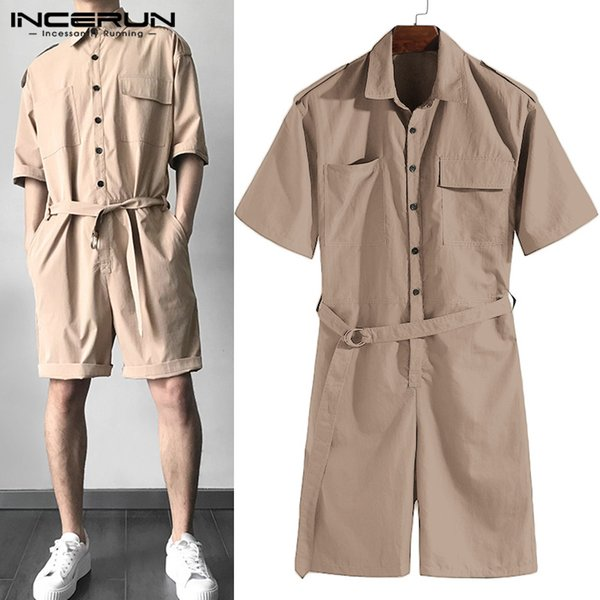Summer Mens Set Rompers Half Sleeve Casual Solid Belt Waist Men Cargo Overalls Jumpsuit Shorts Coverall Playsuits 2019 One Piece