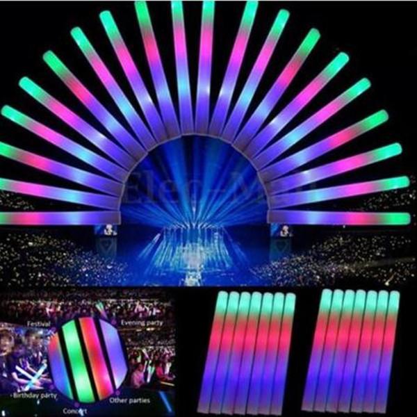 LED Light Stick Intermitente Light Up Foam Glow Sticks Color del arco iris LED Sticks Glow Sponge Stick para Concierto Boda Cumpleaños Fiesta de Navidad A21601