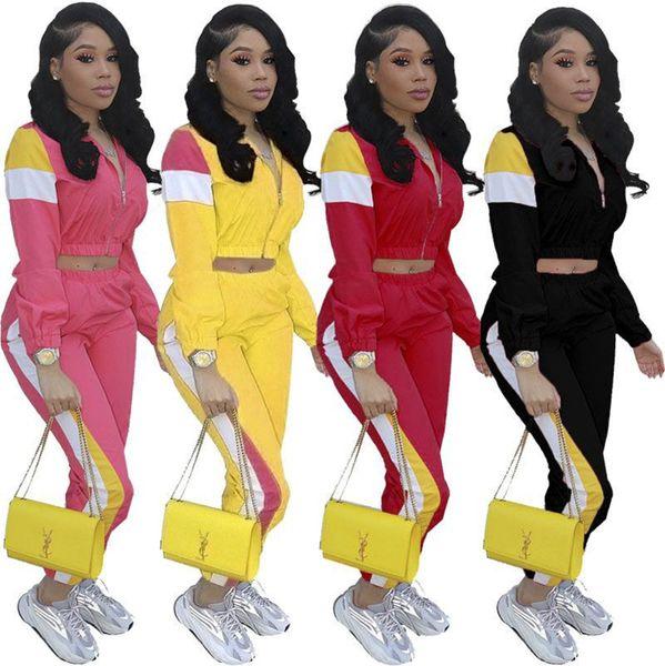 Kırpma Fermuar Ceket Kaban + Pantolon Eşofman Kadın Yaz Kıyafet Uzun Kollu 2 Parça Spor Artı Boyutu Joggers Set Sokak Spor Takım Elbise A372