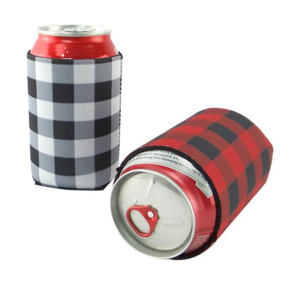 DHL plaid Neoprene Can cooler Sleeve Beverage With Bottom Beer Cup Cover Case Bottle Cup Holder Drinkware Handle Bar Kitchen Tools