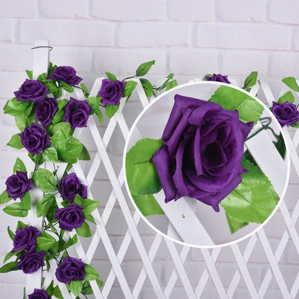 ROKFSCL 2.4M Artificial Rose Vine Fake Flower Garland for Wedding Home Garden Party Decoration(rose red)