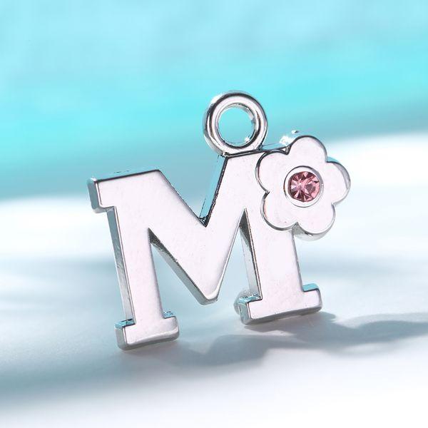 Angelhaken Alphabet Buchstaben Charms Rosa Kristall Buchstaben Verschluss Charms für Halskette Armband Kleine Blume Anhänger für Schmuckherstellung