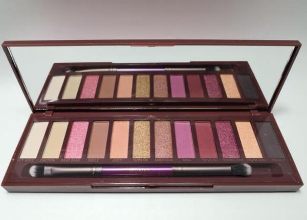 Make-up Lidschatten-Palette Kirsche 12 Farben natürliche lang anhaltende Lidschatten-Palette Kosmetik hohe Leistung mit Pinsel