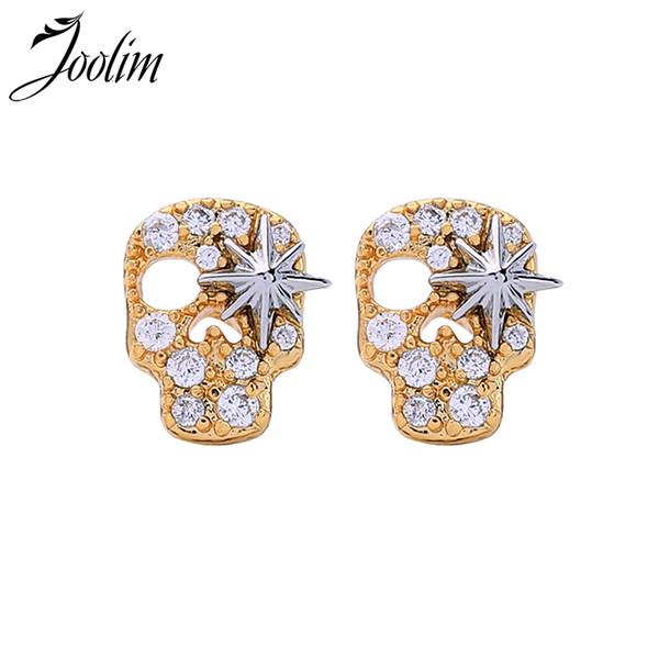 Joolim Jewelry Wholesale / Gold Color Skull Stud Earring Fashion Earring Wholesale