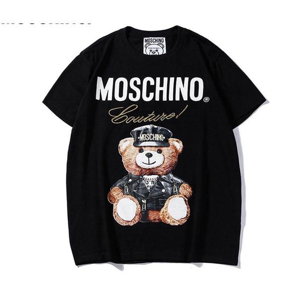 19ss Yaz Yeni Moschin O Tee Pamuk Kısa Kollu Nefes Erkek Kadın Moschinos Salıncak Ayı Rahat Açık Streetwear T-Shirt 836