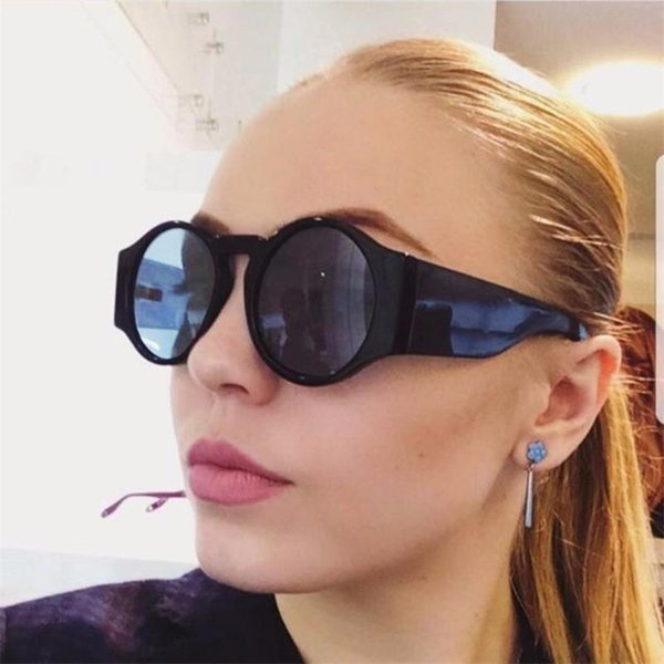 occhiali da sole rotondi in plastica donna tinta di colore nero occhiali da sole firmati trasparenti leopardo lenti gialle occhiali vintage di lusso