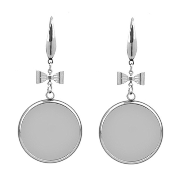 10pcs Stainless Steel Earring Settings Cabochon Base Blank Fit 12/14/16/18/20mm Cabochon Cameo DIY Ear Jewelry Making