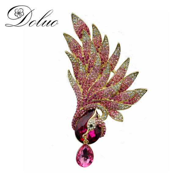 Rhinestone Pink Phoenix Brooch Chinese style jewelry brooch Colored Rhinestone animal brooch pin for women Coat accessories