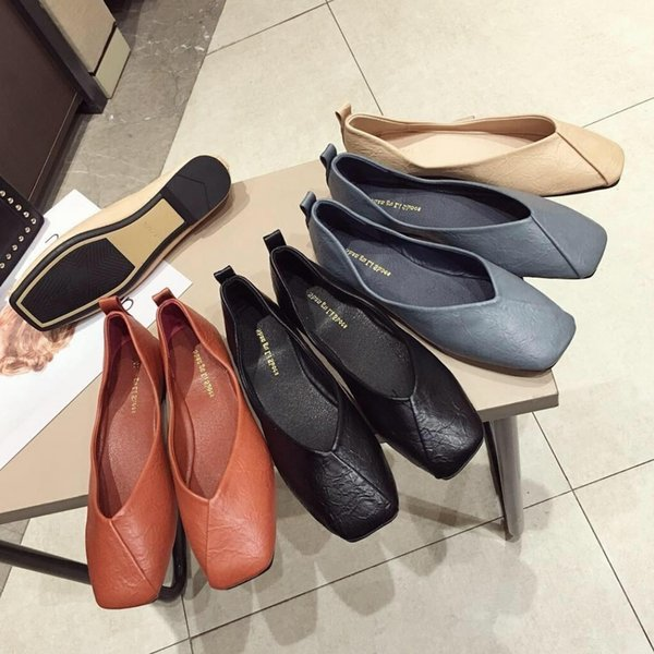 Current2019 Morning! Good Concise Dawdler One Pedal Grandma Square Shallow Mouth Flat Bottom Set Foot Single Shoe Women's Shoes