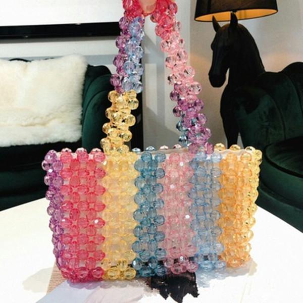 Handmade Rainbow Beads Crystal Handbags Women Beading Pearls Shoulder Bags for Ladies Pearl Evening Party Wedding Clutch Purses