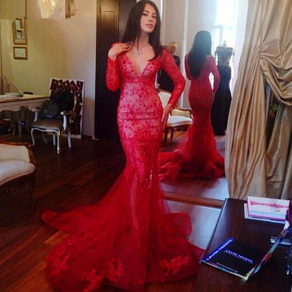 Red Deep V Neck Mermaid Evening Dresses With Long Sleeves Crystal Applique Prom Dress Sweep Train Tulle Custom Made Evening Gowns