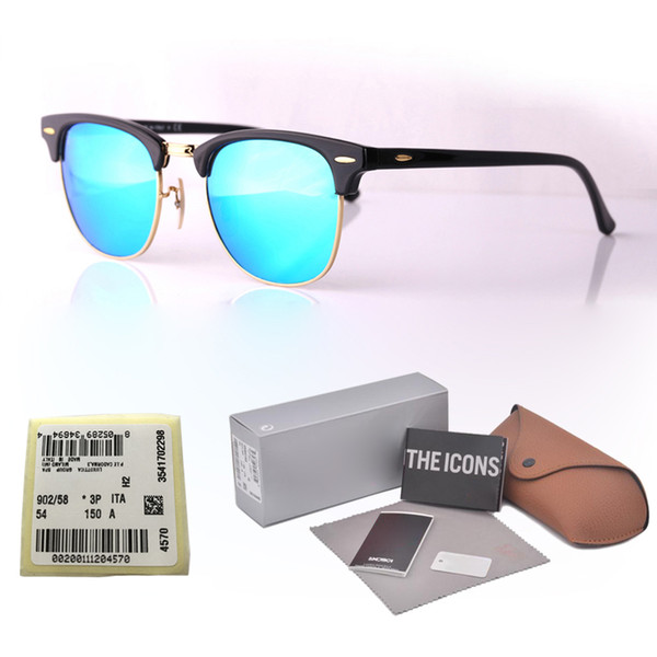 16 Colors Choose Brand Designer Cat Eye Sunglasses Men Women Semi Rimless Sun Glasses plank frame ( glass lenses ) With Retail box and label