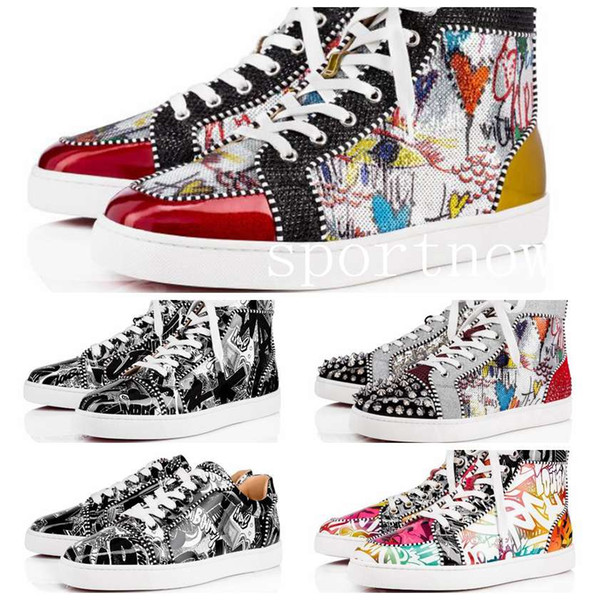 2019 new season red bottoms for men women designer shoes luxury print silver pink pik no limit rare studs and rhinestones graffiti - from $89.52
