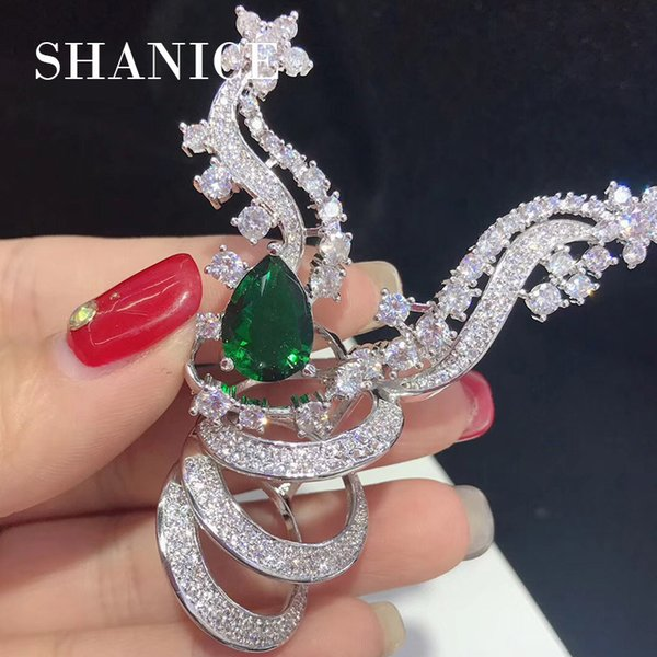 SHANICE Green Red Blue CZ Crystal Jewelry DIY Women Pearls Necklace Making Findings Paved Zircon Connector Pendants Accessories
