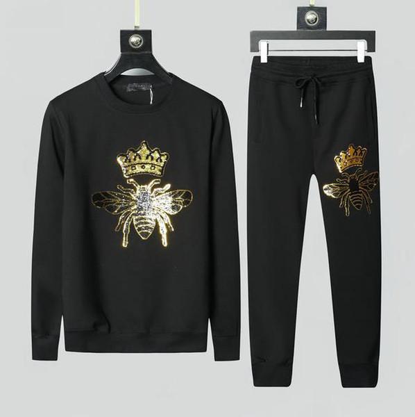 2019 Herbst und Winter beliebter Marken-Kleidung der Männer dünne Designer-Mode Rundhals Pullover Anzug Trend
