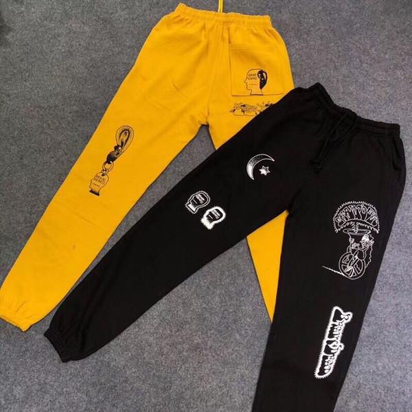 FW18 Kanye West Cérebro Morto Gustavo Sweatpants calças dos homens das mulheres hip hop Moda calças de basculador Preto amarelo Sweatpants Preto, Streetwear amarelo