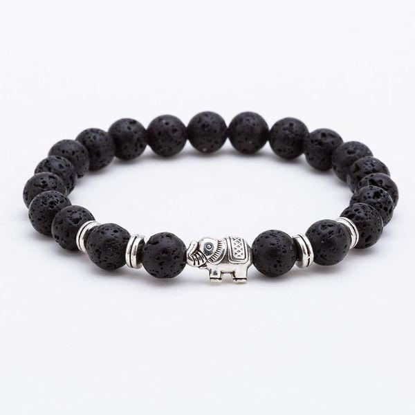 Bracciale in pietra vulcanica nera lava 8mm Bracciale in argento con pietre preziose per uomini e donne