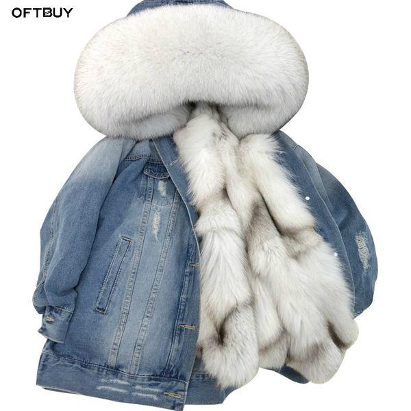 OFTBUY 2019 Giacca invernale in parka di jeans da donna Cappotto in vera pelliccia Colletto in pelliccia di procione naturale Capispalla foderato in caldo volpe caldo Capispalla Nuovo