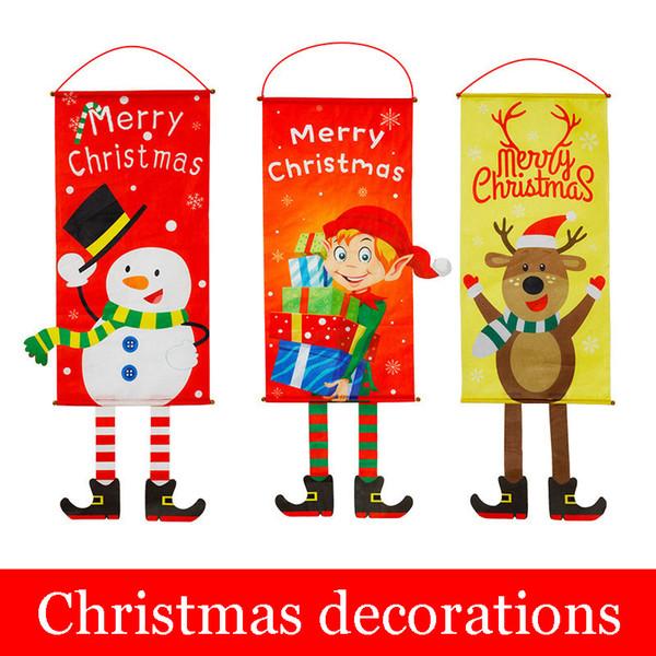 Compre 2018 Feliz Navidad Arte Decoración Navideña Colgando En Tela Escena Decorada Con Ciervos Viejos Muñeco De Nieve árbol Adornos Tienda Puerta