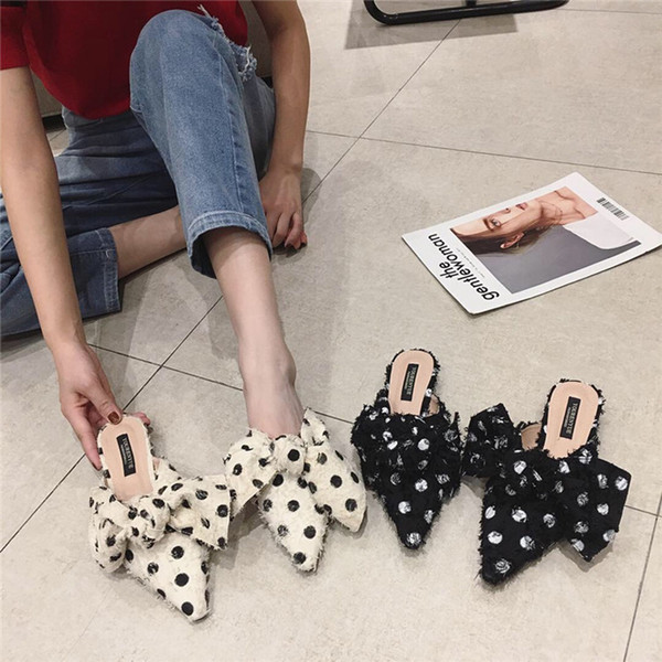 Frau Polka Dot Mules Schmetterling Knoten niedrige Fersen Hausschuhe Fransen spitze Zehe Slides Schuh flache Müßiggänger Zapatos Mujer schwarz Beige
