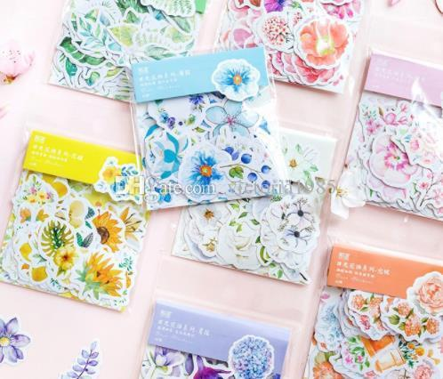 New 45pcs/pack Kawaii Japanese Decoracion Journal Cute Diary Flower Stickers Scrapbooking Flakes Stationery School Supplies