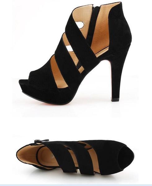 Drop Shipping noir D'été Sandale Chaussures pour Femmes 2019 Nouvelle Arrivée Épais Talons Sandales Plateforme Casual Chaussures