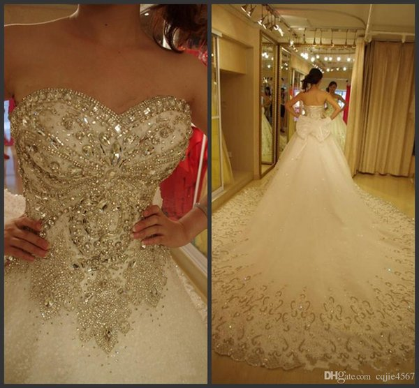 2019 New Sexy Luxury Wedding Dresses Bling Sweetheart Organza Royal Train Crystal Diamond Wedding Gowns Plus Size Lace-up Custom Made