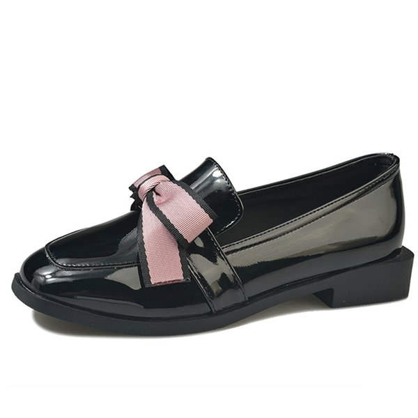 2019 Spring Flats Women Shoes Bow-tie Loafers Patent Leather Elegant Low Heels Slip On Footwear Female Thick Heel n585