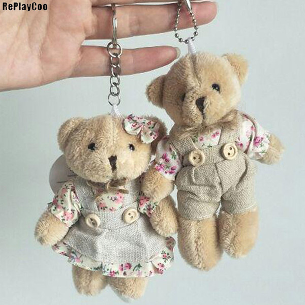 2PCS/LOT Kawaii Teddy Bear&Rabbit Couple Plush Toy Stuffed Animal Soft Doll Bears Stuffed Plush Pendant Wedding Gifts JXA011
