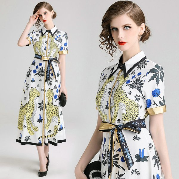 Fashion Short Sleeve Shirt Dress for Women Lapel Animal Printed Office Dress Lady Business Dress Quality Casual Summer Midi Dresses