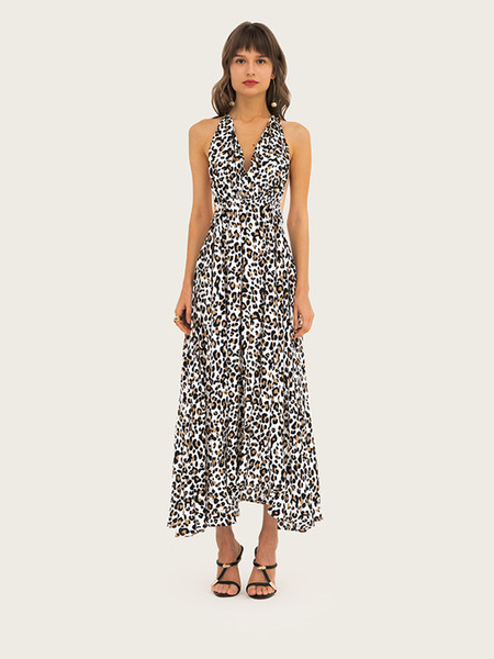 Saias para Mulheres Verão Sexy Leopard Impresso Vestidos Com Decote Em V Cinto de Cintura Alta Halter Saia Estilo Praia Mulheres Boate Vestido X-2XL tamanho
