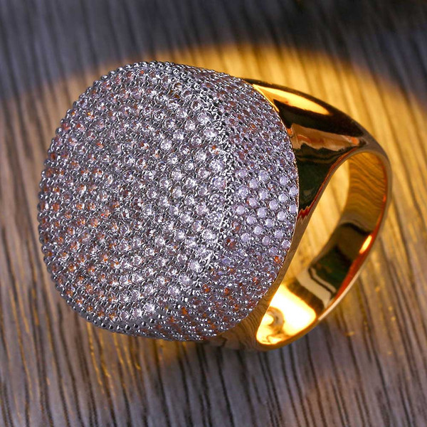 18K Gold Plated White CZ Cubic Zirconia Vintage Round Button Ring Hip Hop Bling Rings Diamond Jewelry Gifts for Men 23mm Size 7-11 Wholesale