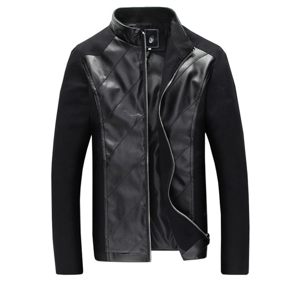 Nice New Style Fashion Stitching Men Leisure Pu Leather Jacket Slim Mens Casual Leather Jacket Black Blue