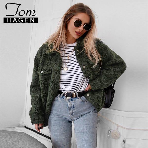 Tom Hagen Winter Teddy Coat Fleece Jacket Women Faux Fur Coat Oversized Teddy Jacket Woman Fake Fur Thick Warm Curly