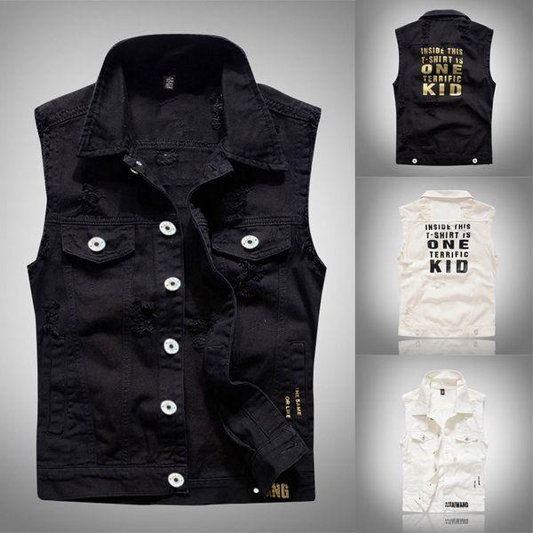 Gilet nero Uomini Ali d'angelo Stampa Jeans lavato bianco Gilet Uomo Giacca cowboy hip-hop strappato 2019 Nuove mode