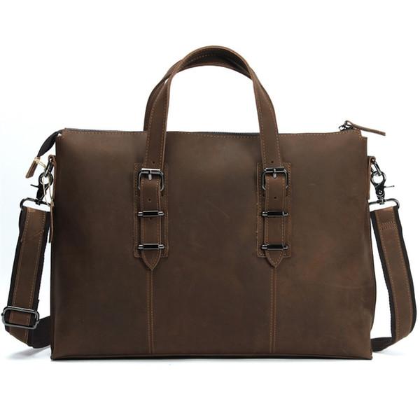 Mens couro genuíno laptop caso saco do computador bolsa de couro do couro bolsa de ombro A4 messenger maleta 14 polegadas LD3362 # 226317