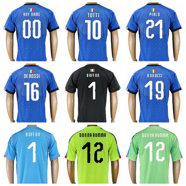 2018 World Cup Soccer 21 Andrea Pirlo Jersey 1 Gianluigi Buffon 9 Mario Balotelli 10 Francesco Totti Football Shirt Kits Uniform Thai Blue