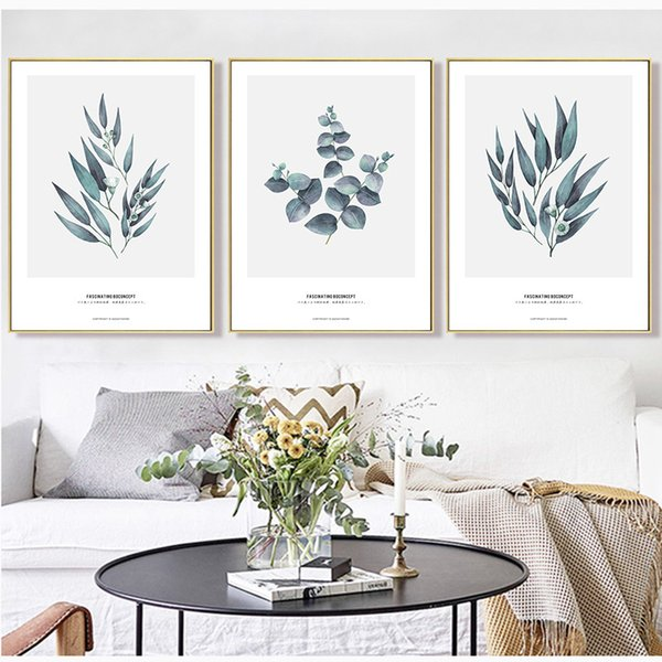 Eucalyptus Print Greenery Wall Art Green Leaves Poster Modern Minimalist Canvas Painting Wall Picture for Living Room Home Decor